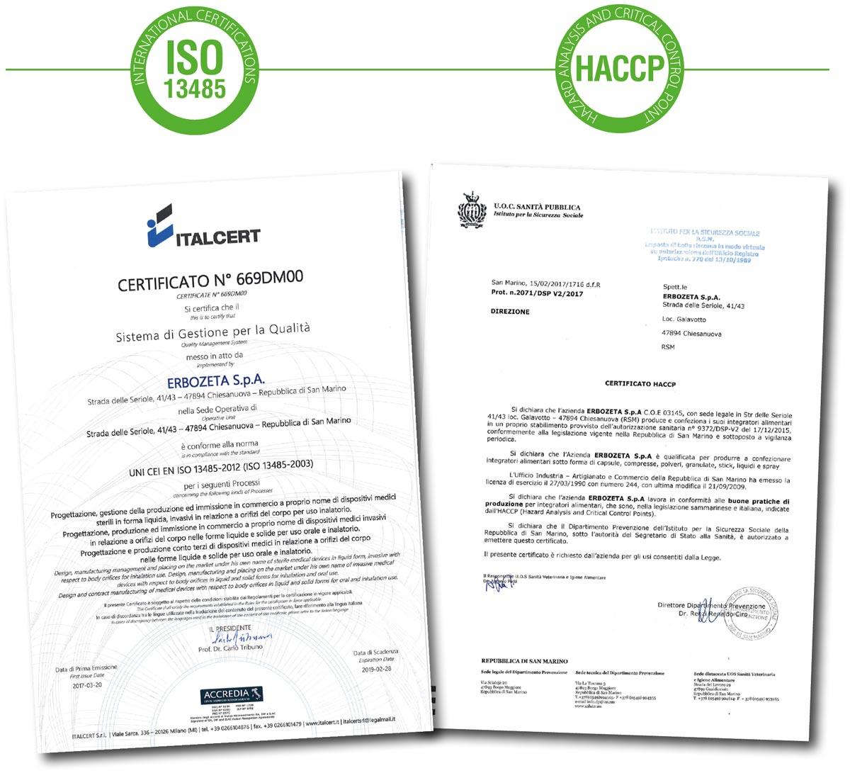 Certificazioni Erbozeta